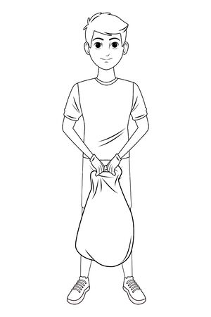 cleaning service person boy with a garbage bag avatar cartoon character in black and white vector illustration graphic design