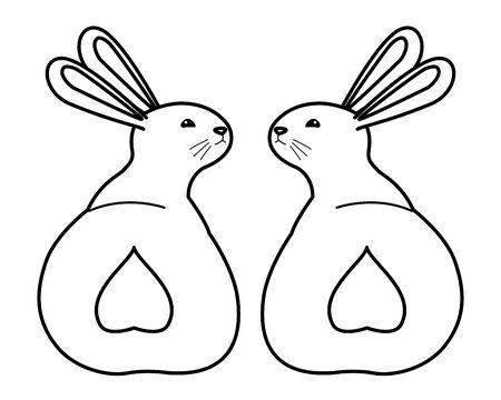 group of rabbits animals playing cartoons ,vector illustration graphic design.