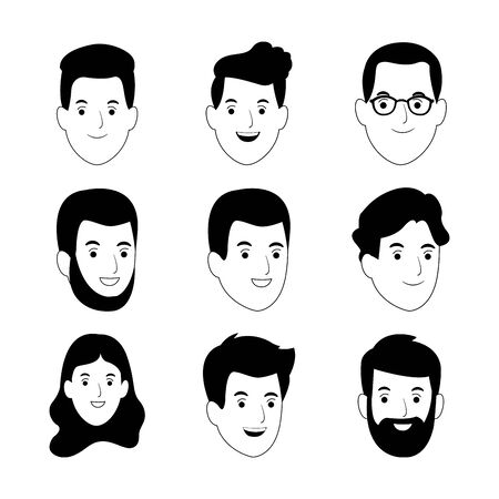 cartoon people faces smiling icon set over white background, vector illustration