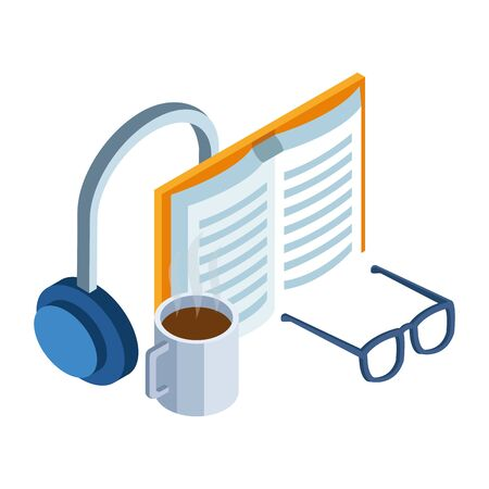 headphones, book and coffee mug and glasses over white background, vector illustration