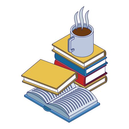 academic books and coffee mug over white background, vector illustration