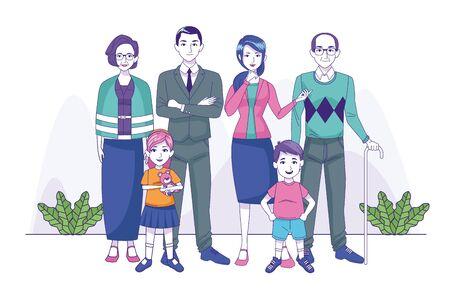group of family members characters vector illustration design Illusztráció