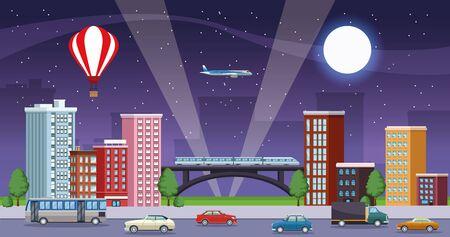 edifici paesaggio urbano con mezzi di trasporto scena notturna illustrazione vettoriale design Vettoriali