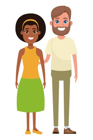 couple avatar man with beard and afroamerican woman wearing bandana profile picture cartoon character portrait vector illustration graphic design