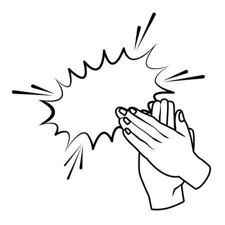 Manos aplaudiendo icono de dibujos animados en blanco y negro ilustración vectorial diseño gráfico