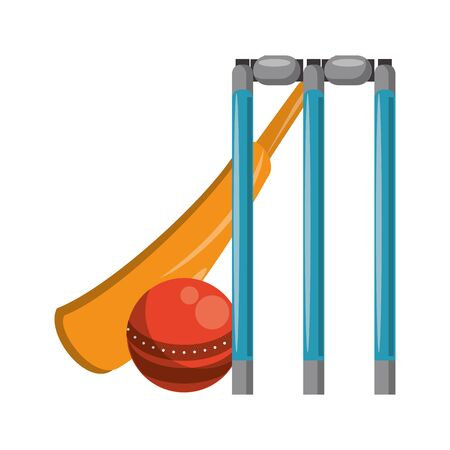 cricket equiment elements bat cricket, ball and stumps icon cartoon vector illustration graphic design 矢量图像