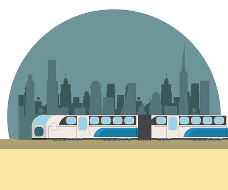 Train transport service passing by city scenery vector illustration graphic design Illustration