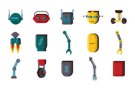 Paquete de tecnología de accesorios de robots, diseño de ilustraciones vectoriales iconos