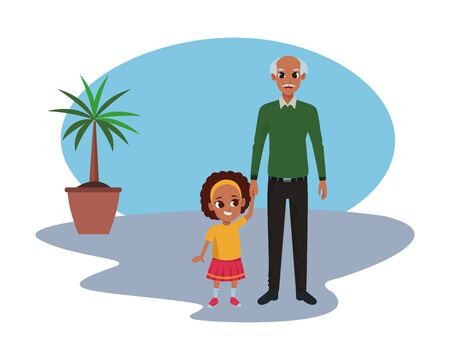 Family afroamerican grandfather with little granddaugther cartoon inside office with plant pot and corkboard vector illustration graphic design.