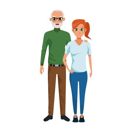 happy old woman and man together over white background, vector illustration Vettoriali