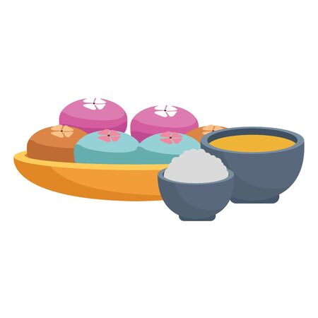 tea cup and bowl with mooncakes over white background, vector illustration