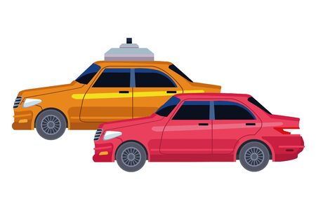taxicab and vehicle icon cartoon vector illustration graphic design Vettoriali