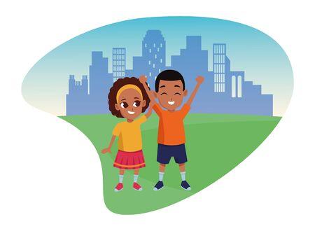 Famille afro-américaine soeur et frère souriant dessin animé dans la conception graphique d'illustration vectorielle de paysage urbain de la ville.