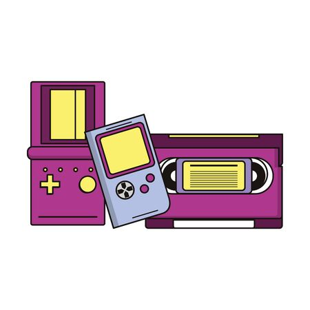 retro vintage game tetris gameplay consoles with cassette isolated cartoon vector illustration graphic design Illustration