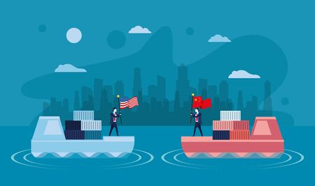 merchant ships with business people and China and usa flags vector illustration design
