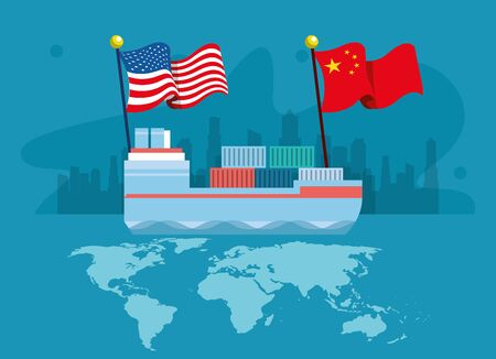 merchant ship with flags China and united states of america vector illustration design