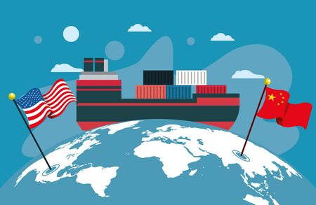 merchant ship with flags China and usa around the world vector illustration design
