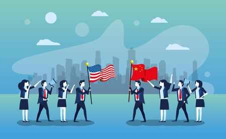 business people with flags China and united states of america vector illustration design
