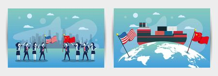 bundle of business people with usa and china flags vector illustration design Vettoriali