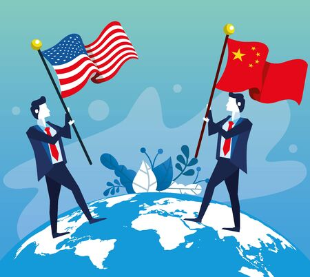 businessmen with united states american and china flag vector illustration design 向量圖像