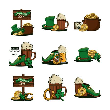 bundle of saint patrick day celebration icons vector illustration design