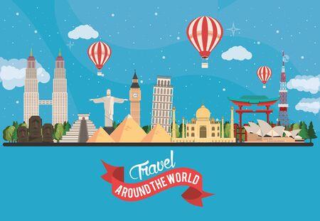 travel around the world design with set monuments vector illustration design