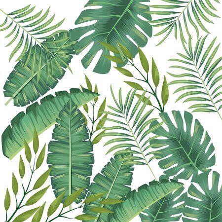 tropical leafs foliage pattern background vector illustration design Ilustração Vetorial