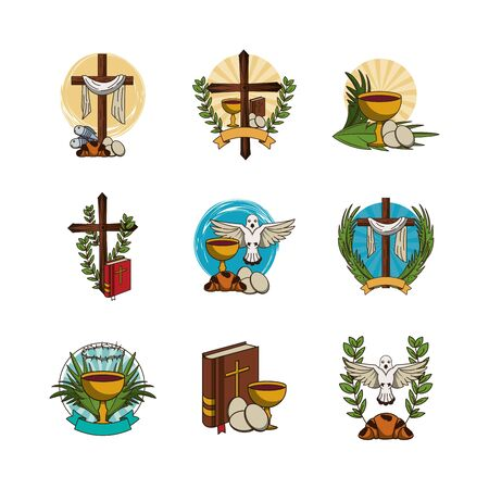 bundle of first communion set icons vector illustration design