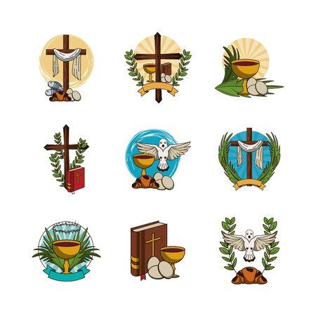 fascio di prima comunione set icone illustrazione vettoriale design