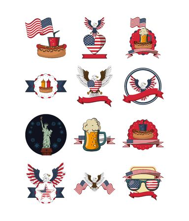 bundle of usa set icons vector illustration design  イラスト・ベクター素材
