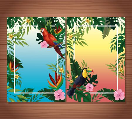 Summer blank card with exotic birds and tropical leaves with flowers on wooden background. vector illustration