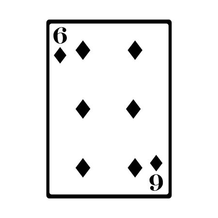 six of diamonds card icon over white background, vector illustration