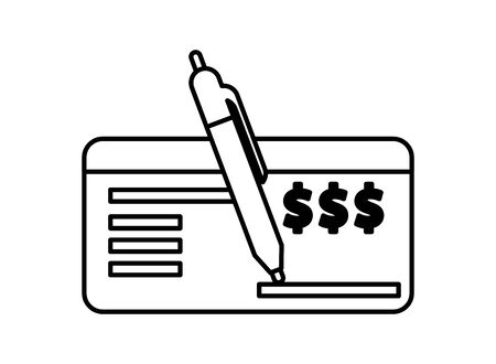 check bank note with pen icon vector illustration design