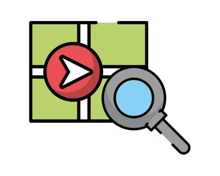 paper map guide with magnifying glass vector illustration design