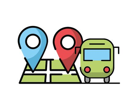 paper map guide with bus vehicle vector illustration design