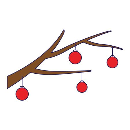 branch with christmas balls over white background, vector illustration