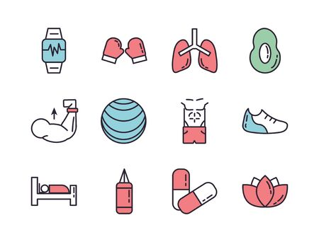 bundle of healthy lifestyle icons vector illustration design Illustration