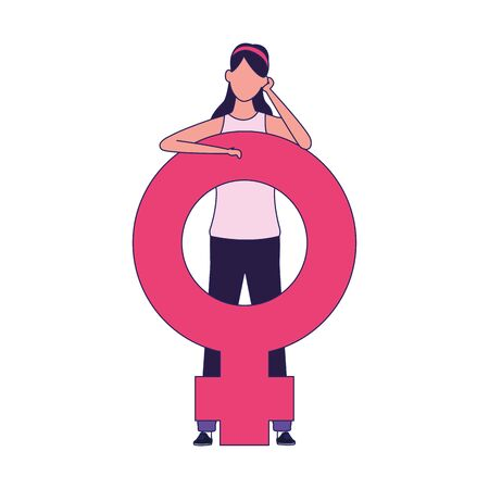 woman with female gender symbol icon over white background, vector illustration Ilustrace