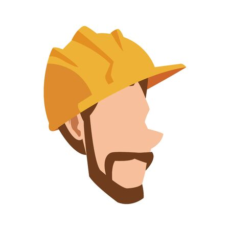 cartoon man with beard and safety helmet icon over white background, vector illustration Vetores