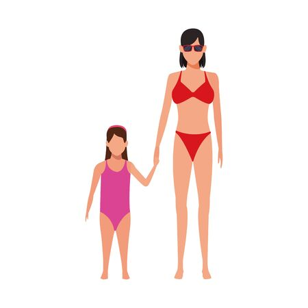 avatar woman and daughter wearing swimsuits over white background, vector illustration