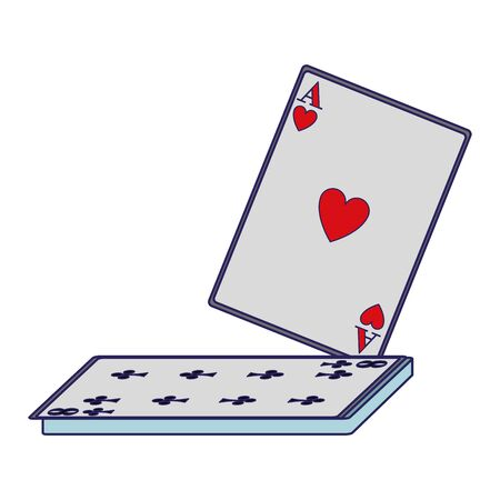 ace of heart and eight of club cards icon over white background, vector illustration