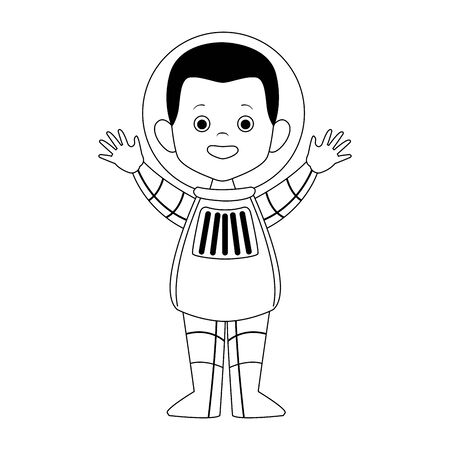 cartoon happy astronaut icon over white background, vector illustration Illustration