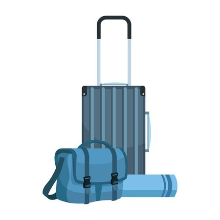 travel suitcase and bag icon over white background, vector illustration