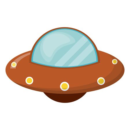 UFO alien spaceship cartoon vector illustration graphic design