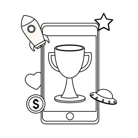 technology smartphone video game mode play spaceship entertainment cartoon vector illustration graphic design Stock Vector - 137091316