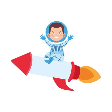 astronaut man on space rocket over white background, vector illustration
