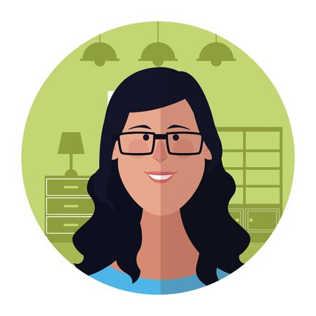 Woman with glasses face cartoon profile inside home round icon vector illustration graphic design