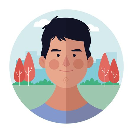 young man face cartoon at nature park round icon vector illustration graphic design