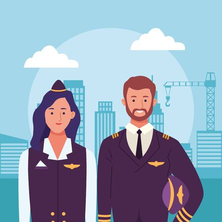 cartoon air hostess and pilot over urban city buildings scenery background, colorful design , vector illustration
