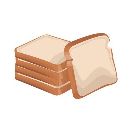 Icône de pains sur fond blanc, vector illustration